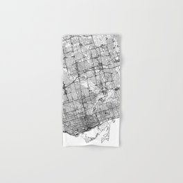 Toronto White Map Hand & Bath Towel