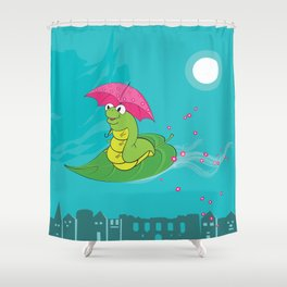 Night Flight of the Inchworm Shower Curtain