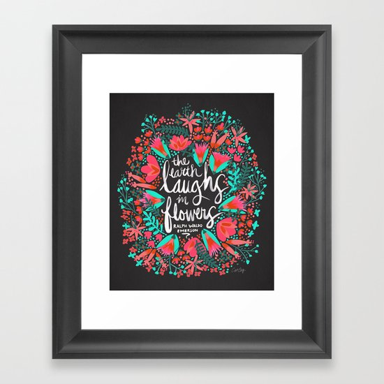 The Earth Laughs in Flowers – Pink & Charcoal Framed Art Print
