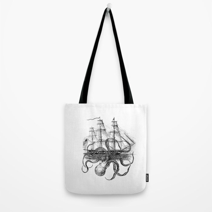 Octopus Attacks Ship on White Background Tote Bag