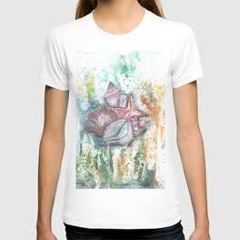 Seashells Art Illustration T-shirt