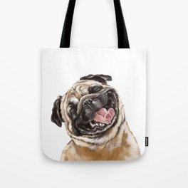 Happy Laughing Pug Tote Bag
