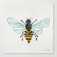 bee Canvas Prints featuring Honey Bee by Cat Coquillette