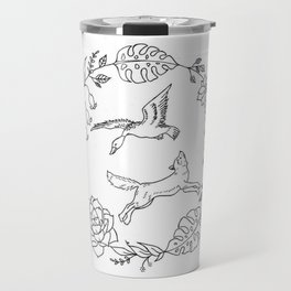 Fox and Loon Playing in Floral Wreath Design — Floral Wreath with Animals Illustration Travel Mug