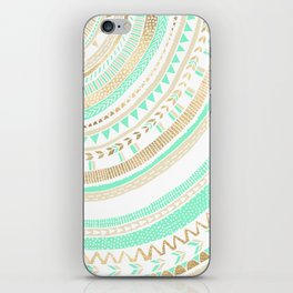 Mint + Gold Tribal iPhone Skin