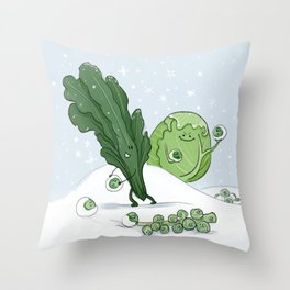 Brussel Sprout Fight Throw Pillow