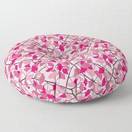 Ginkgo Leaves in Vibrant Hot Pink Tones Floor Pillow