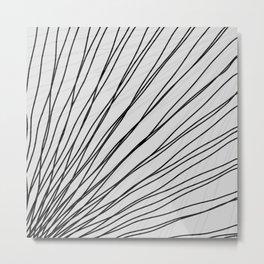 Rays of black light with mirrored dark waves on gray. Metal Print