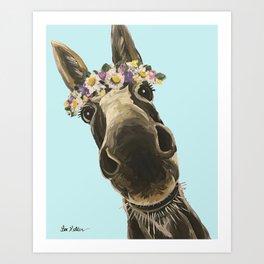 Blue Flower Crown Donkey, Donkey Art Art Print