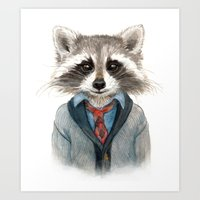 raccoon Art Prints featuring Raccoon by Leslie Evans