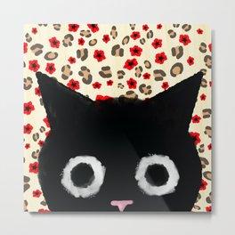 Spooked Kitty Black Creepy & Cute on Leopard Print Metal Print