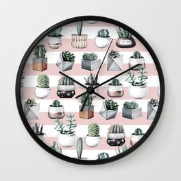 Potted Cactus Stripes Pink Rose Gold Wall Clock