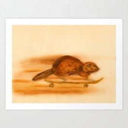 Rider  - Beaver skateboarder Art Print