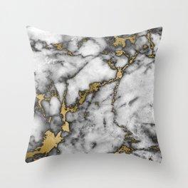 marble gold black Throw Pillow