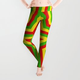 colorful concentric rasta star pattern Leggings