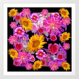 BLACK FLORAL TAPESTRY OF ASSORTED FLOWERS Art Print