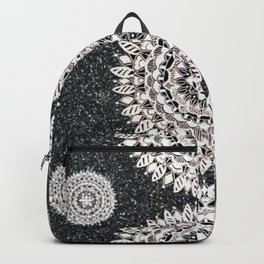 Black Glitter and Silver Mandala Textile Piece Backpack