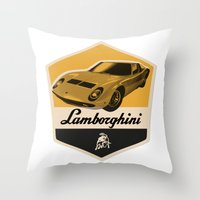 lamborghini Throw Pillows featuring Lamborghini Miura by Liviu Antonescu