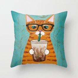 Iced Coffee Cat Throw Pillow