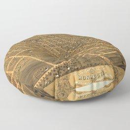 Bird's Eye View of Monmouth, Illinois (1869) Floor Pillow