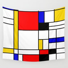 Bauhouse Composition Mondrian Style Wall Tapestry