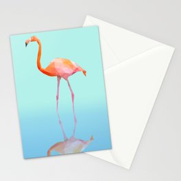 Low Poly Flamingo with reflection Stationery Cards