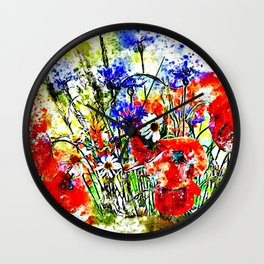 Garden Chock Full of Flowers Wall Clock