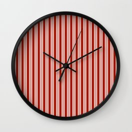 Small White and Dark Salem Red Milk Paint Stripes Wall Clock