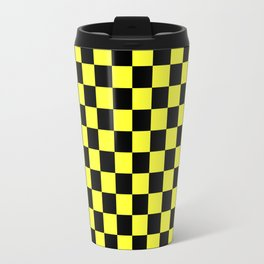 Black and Electric Yellow Checkerboard Travel Mug
