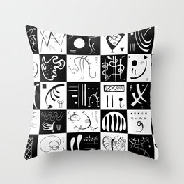 Kandinsky - Black and White Pattern - Abstract Art Throw Pillow