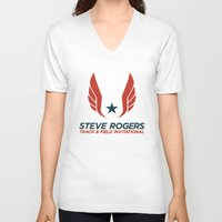 steve rogers V-neck T-shirts featuring Steve Rogers Track & Field Invitational by garywithrow