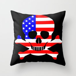 Stars And Stripes Skull and Crossbones Throw Pillow