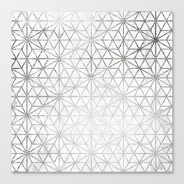 Modern silver stars geometric pattern Christmas white marble Canvas Print