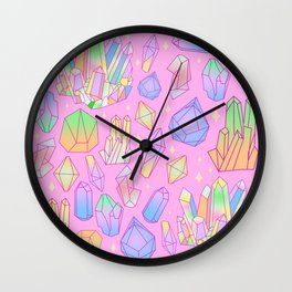 Pastel Goth Crystal Cluster Pattern Pink & Blue Wall Clock