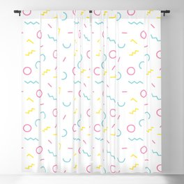 Memphis Style Abstract Pattern (blue, pink, yellow) Blackout Curtain