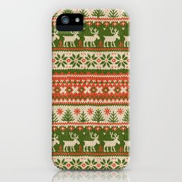 Ugly Christmas Sweater Digital Knit Pattern 4 iPhone Case