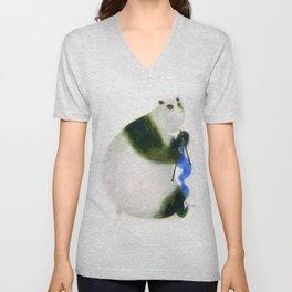 """""""Un panda tricote..."""" Book cover Unisex V-Neck"""