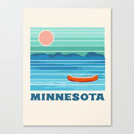 Minnesota travel poster retro vibes 1970's style throwback retro art state usa prints Canvas Print