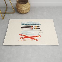 Retro Ski Illustration Rug