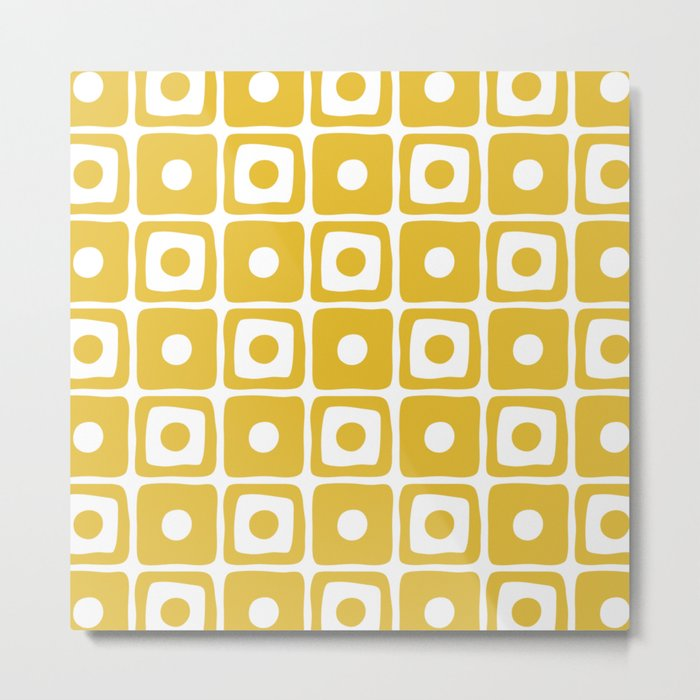 Mid Century Square Dot Pattern Mustard Yellow Metal Print