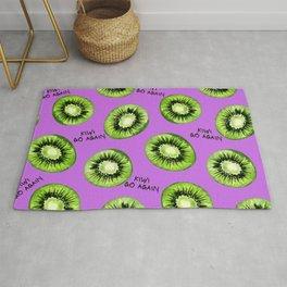 Kiwi Go Again Funny Kiwi Fruit Pun Pattern (magenta) Rug