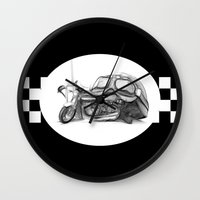 cafe racer Wall Clocks featuring Cafe Racer II by Rainer Steinke