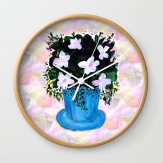 Blue Vase with Foliage and White Flowers Wall Clock