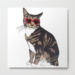 Cat Heart Glasses Metal Print