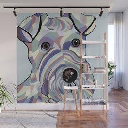 Wire Hair Terrier Denim Colors Wall Mural