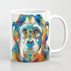 Colorful Chimp Art - Monkey Business - By Sharon Cummings Mug