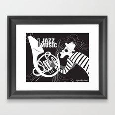 B&W Jazz Music Festival Framed Art Print