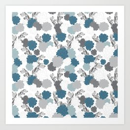 Royal Mum Blue & Gray Floral Art Print