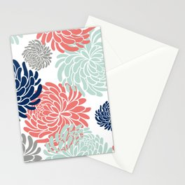 Floral, Chrysanthemums, Coral, Pink, Aqua, Navy, Blue Stationery Cards