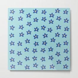 Blue Turquoise Floral Pattern Metal Print